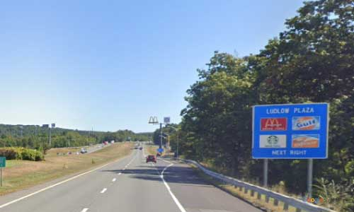 ma interstate 90 massachusetts i90 turnpike ludlow service plaza mile marker 55 eastbound off ramp exit
