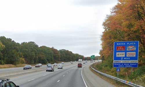 ma interstate 90 massachusetts i90 turnpike natick service plaza mile marker 117 eastbound off ramp exit