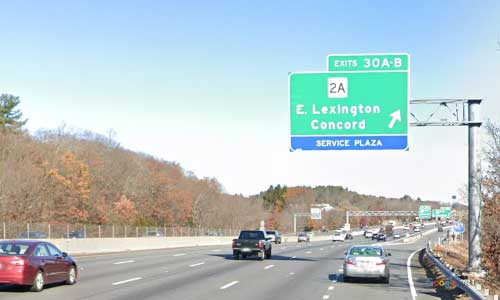ma interstate 95 massachusetts i95 lexington service plaza mile marker 30 northbound off ramp exit