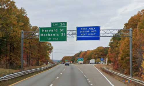 ma state route 2 massachusetts ma2 visitor center rest area westbound off ramp exit